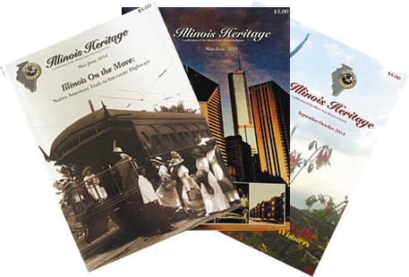 cover photos of Illinois Heritage magazine