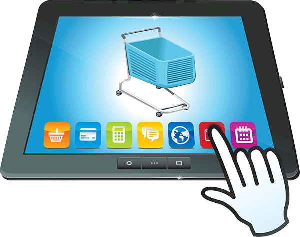Image of tablet with online cart on it
